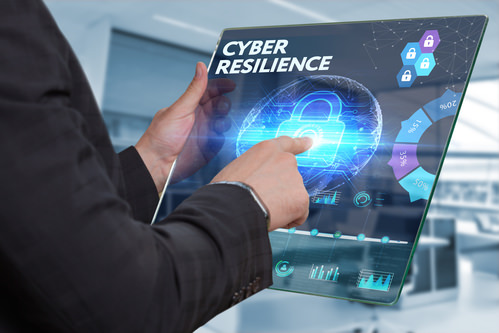 PersonPointingToWords CyberResilienceOnScreen How technology can help make your business more resilient?